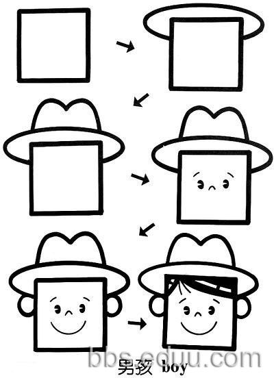 戴帽子的小男孩&