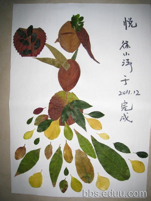 【双蛋活动】豆子的手工作品----树叶贴画
