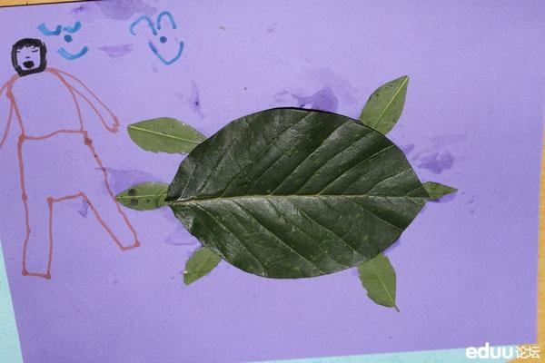 秋天的图画—我是小小艺术家—亲子粘贴树叶活动精彩