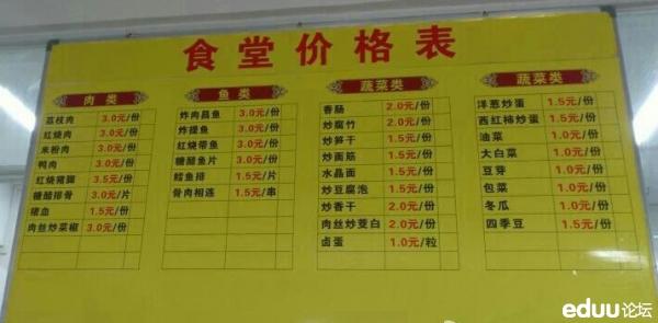 福州十九中食堂的菜单价格表,你们孩子学校的菜价怎么样