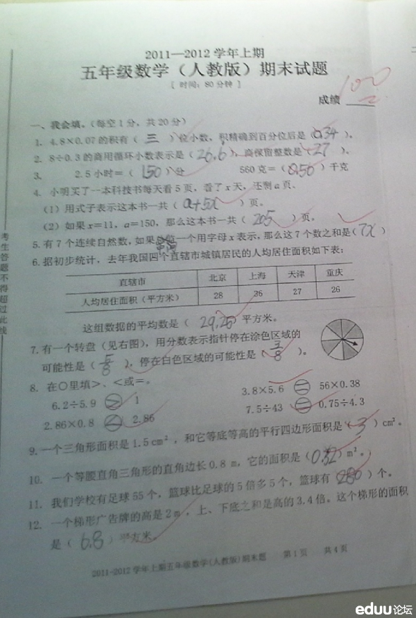 重庆巴南区鱼洞二小2011 2012学年上期五年级数学期末试题