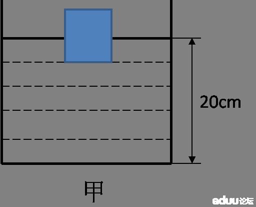 边长为10cm的正方形木块漂浮在水面上