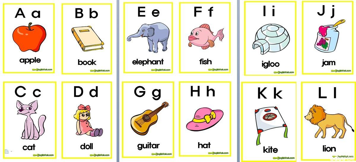 小学英语字母卡片,带简单单词(方便收藏)