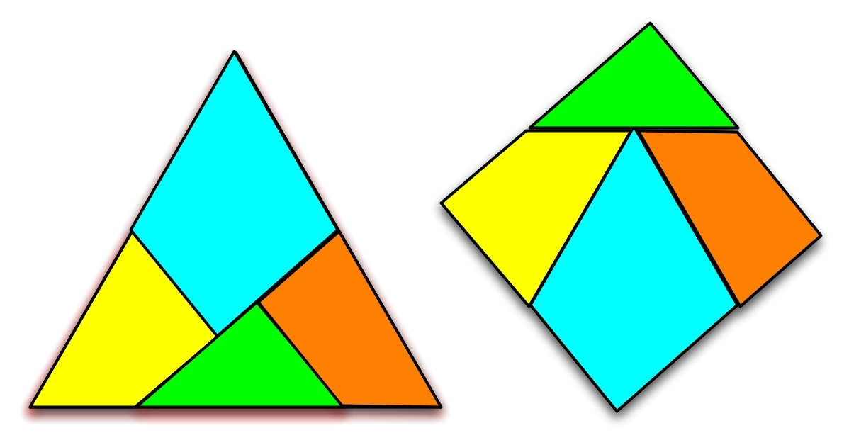 奇妙的正三角形与正方形之间的图形分割转换