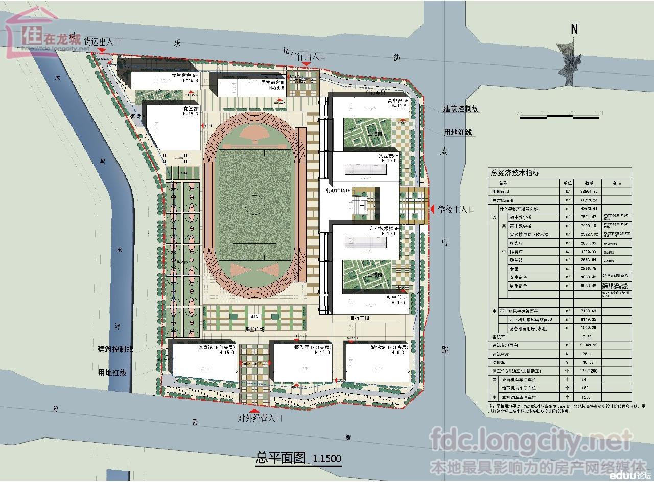 太原市外国语学校建筑方案规划设计总平面图