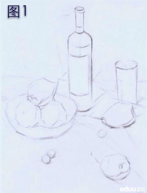 素描静物步骤详解 酒瓶玻璃器皿 水果 衬布