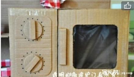 一位妈妈给孩子纯手工制作的纸箱版迷你整体厨房,非常