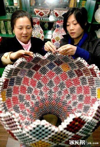 物理制作】废物利用手工制作:用扑克牌制作花瓶方法