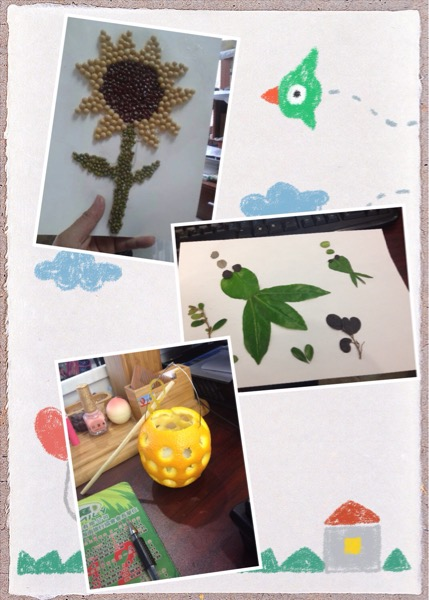 种子贴画,树叶贴画,小桔灯,这周的品生作业