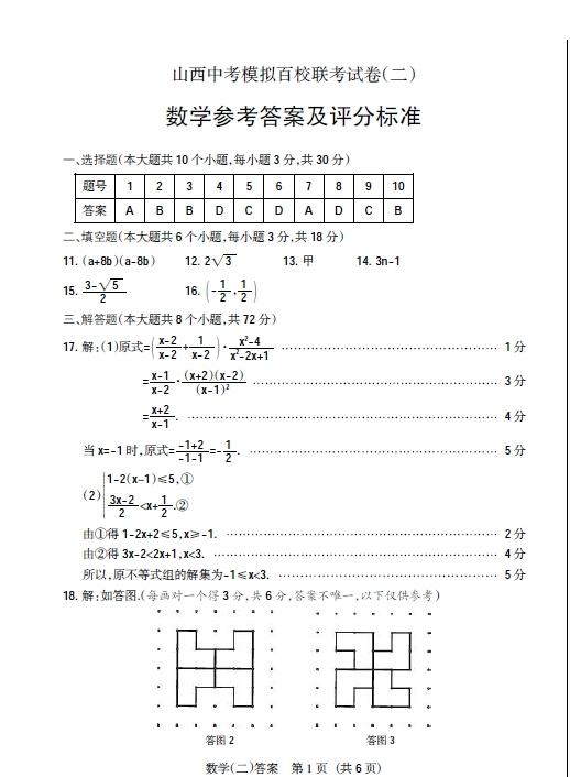 2015年山西中考模拟百校联考试题二数学试题