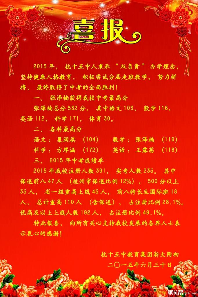 2015年杭州v初中、汇总初中中考喜报民办(偶是十二中初中部武汉市图片