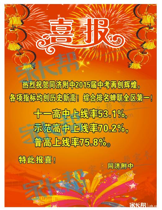 2015年武汉中考各初中汇总喜报及初中中考(7八人成绩歌剧图片