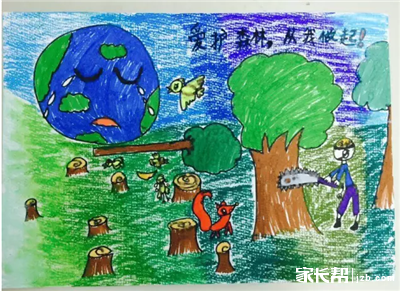 关于保护森林的绘画作品