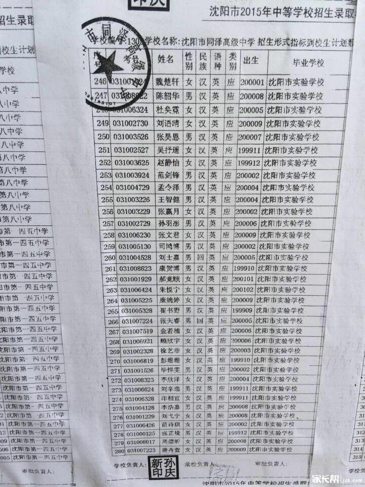 2015沈阳中考沈阳市同泽高级中学录取名单(含吗书全国高中一样图片