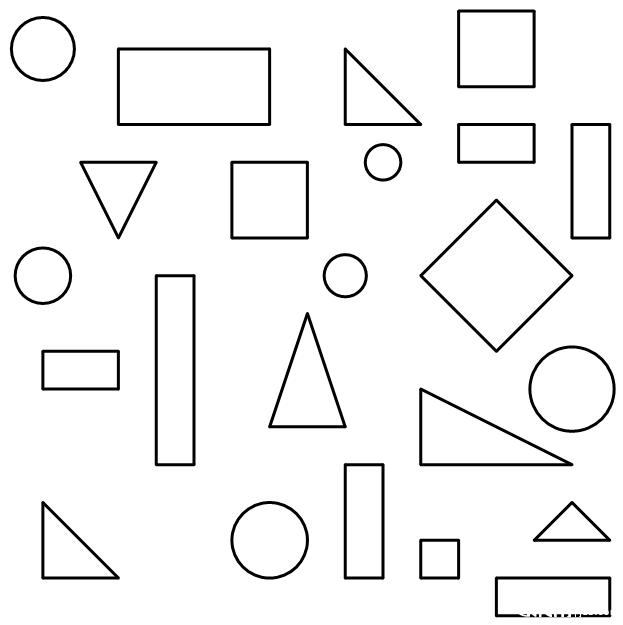几个长方形?几个三角形?几个圆?