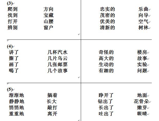 语文二年级上册词语