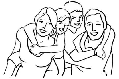 全家福简单的画四口人 四口人全家福简笔画