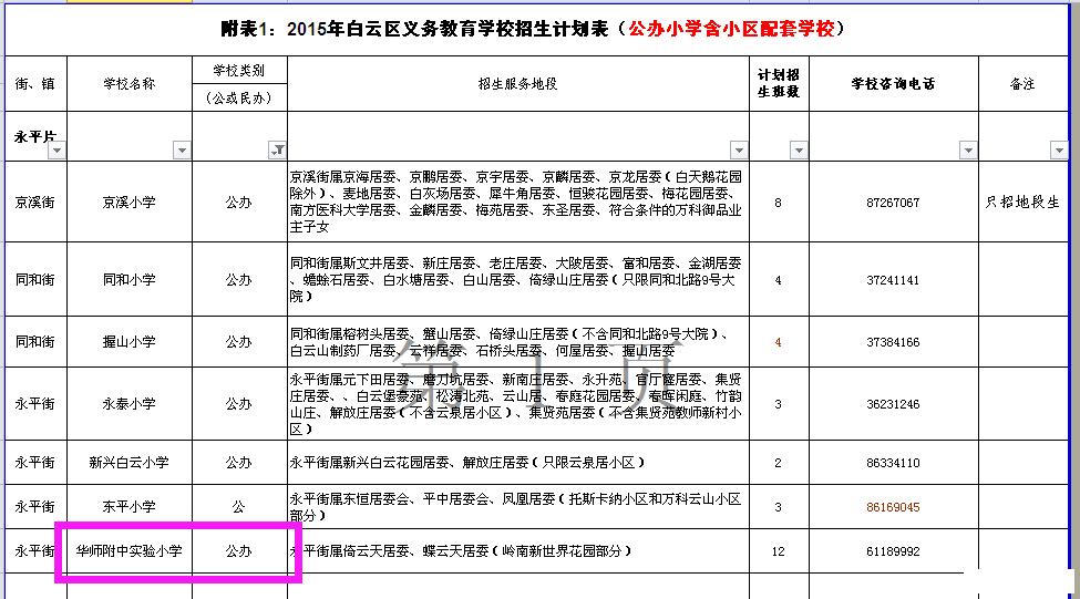 15年白云区小学v小学计划表_2016广州幼升小-东升小学双流县图片