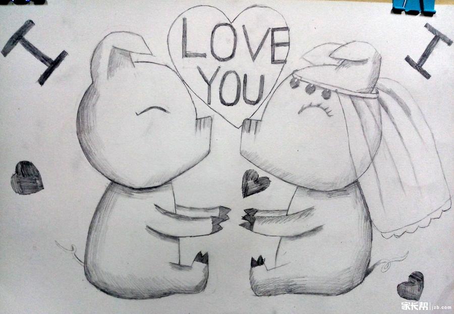 小朋友的趣味素描画