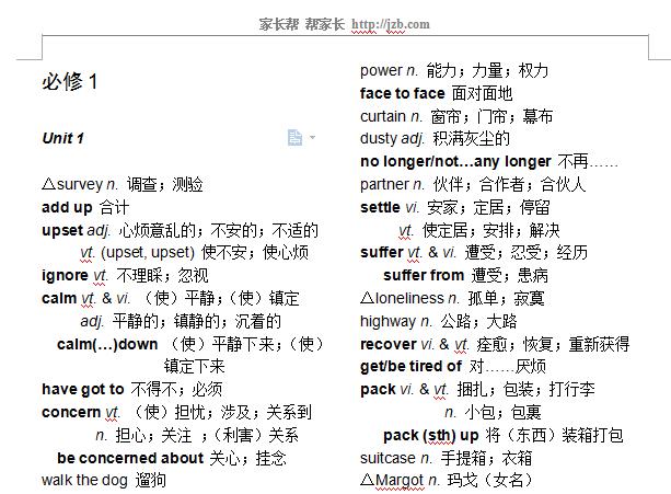 人教版高中英语单词表大全(共41页,可下载哦~)图片