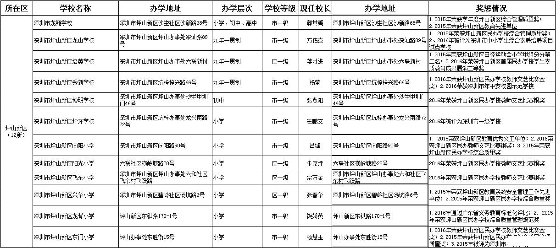 坪山新区民办小学