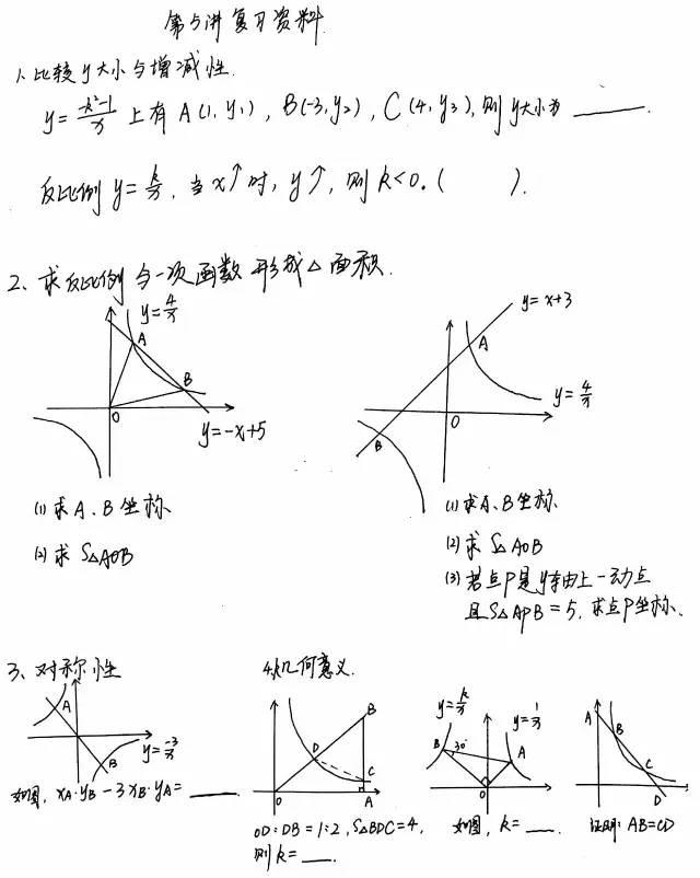 满分冲刺计划】第五讲知识点总结:反比例函数练习题