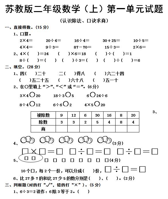 苏教版二年级上册数学各单元复习试题_太原1
