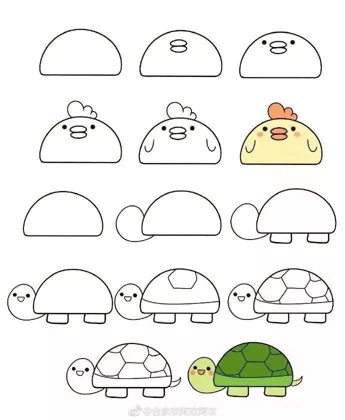 【悦读】怎么用半圆画简笔小动物