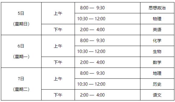北京合格性考试科目和时间