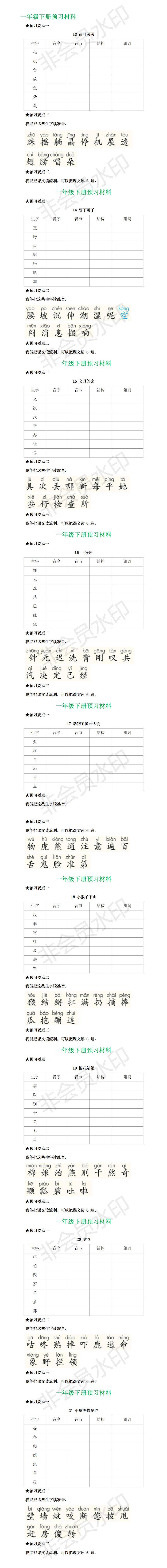 统编一年级语文下册全部课文预习清单.png