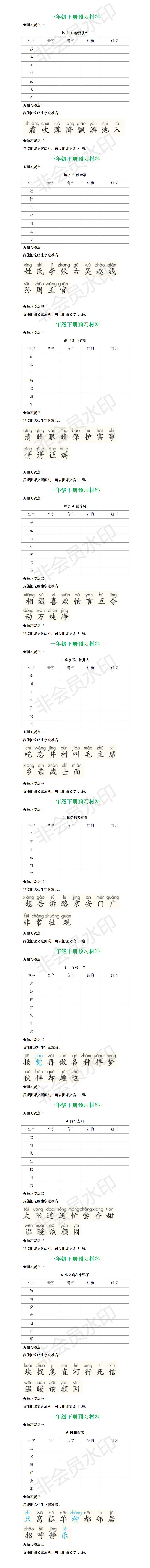 统编一年级语文下册全部课文预习清单1.png