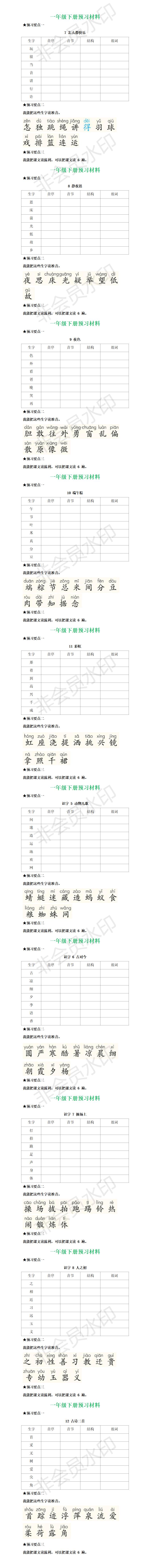 统编一年级语文下册全部课文预习清单2.png