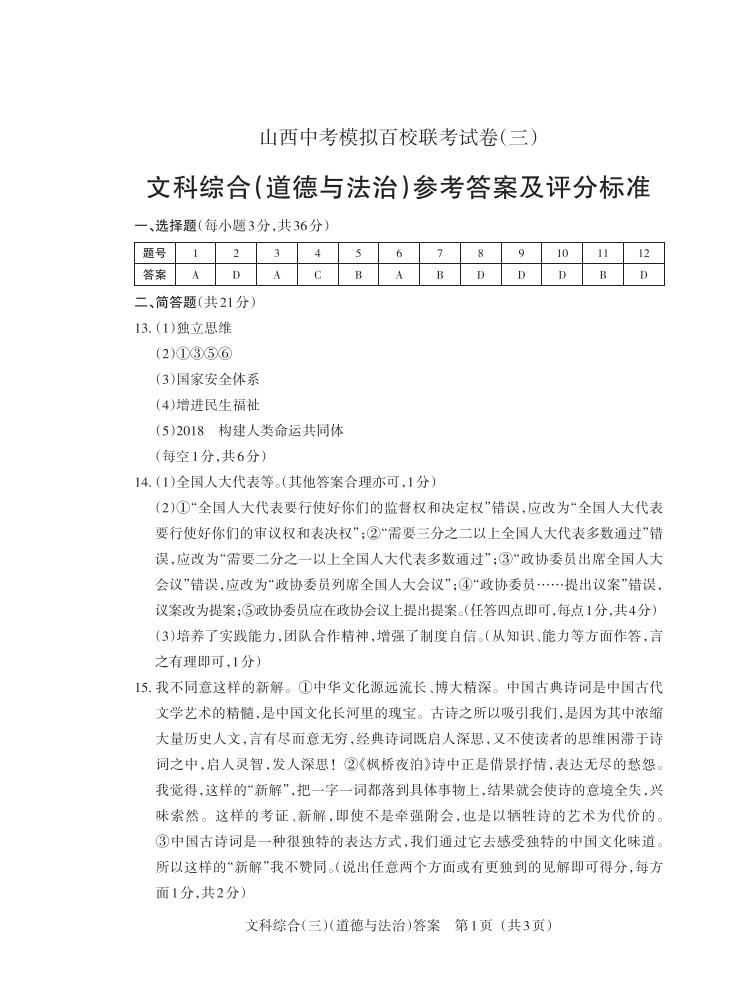 2020年山西中考模拟百校联考试卷(三)道德与法治答案_00 - 副本.png