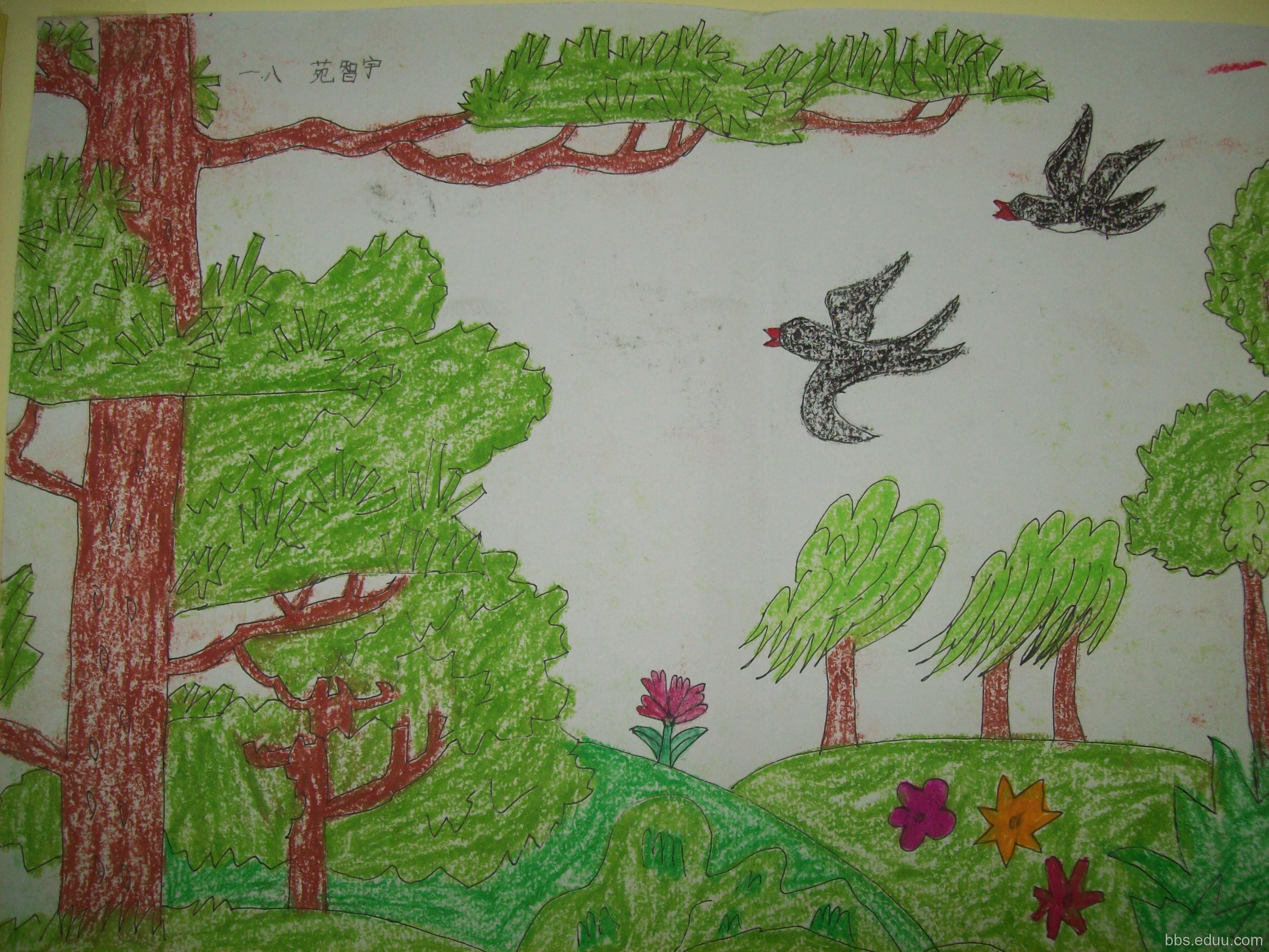 学生的画 小学一年级春天的画小学一  小学简单画画图片大全-简单的图片